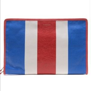 Balenciaga large bazar clutch pouch red white blue